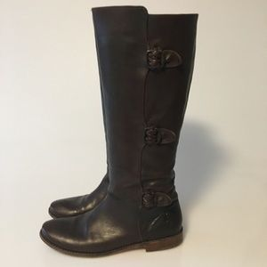 FRYE PAIGE BROWN LEATHER BOOTS 8.5 B TRIPLE BUCKLE